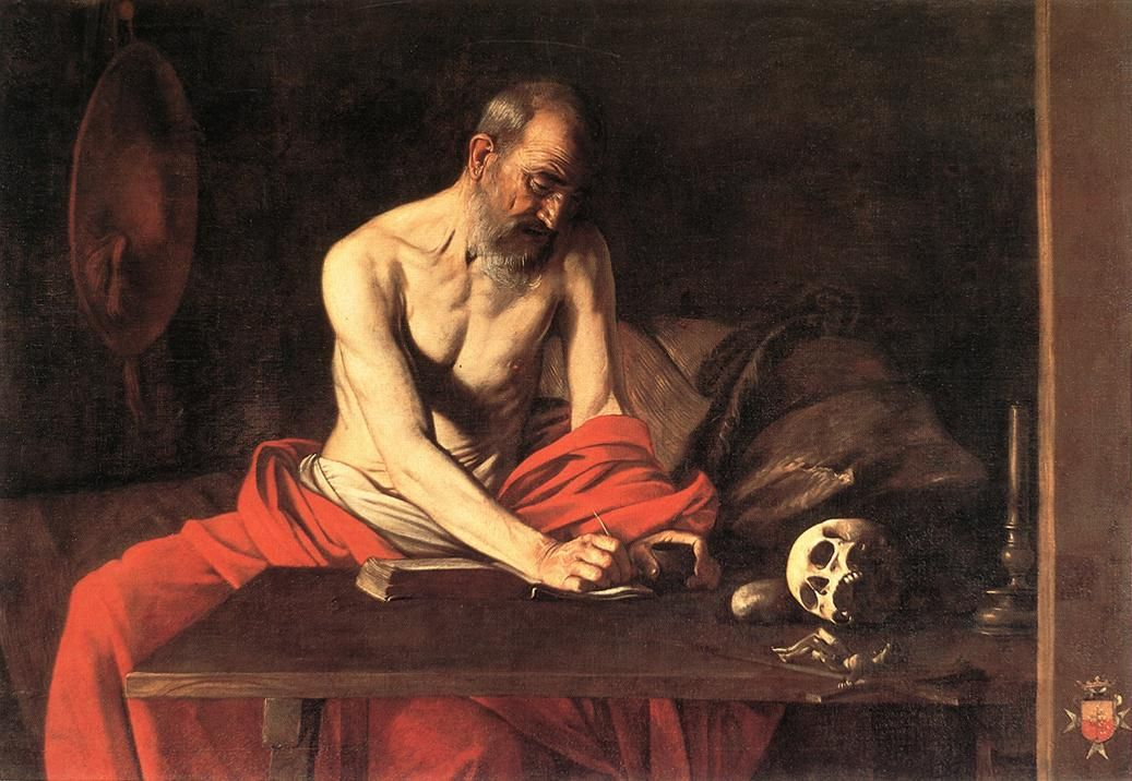 1608 Caravaggio Saint Jerome Writing Catholic Art Painting Poster Reproduction