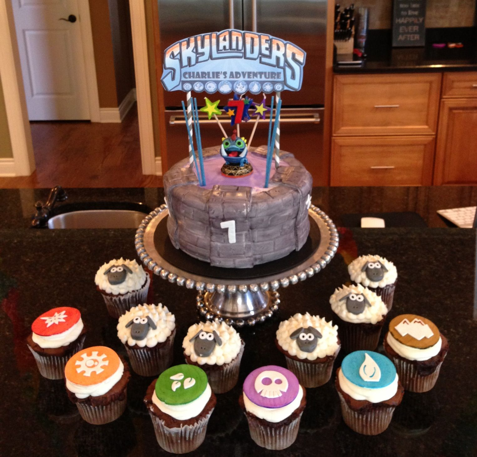 Skylanders Birthday Cake and cupcakes to match the elements and