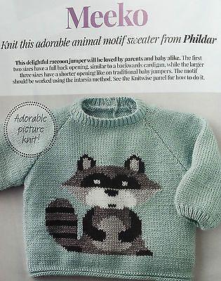 KNITTING PATTERN Baby Racoon Motif Sweater Animal Jumper Phildar PATTERN