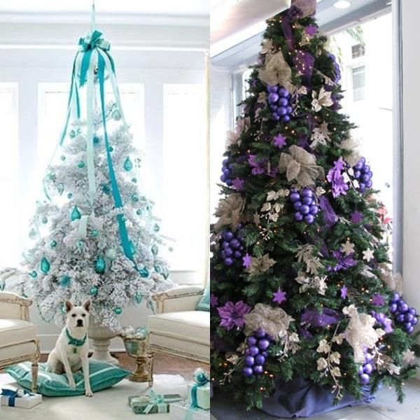 Decoracion arbol de navidad blanco y morado - Arbol de navidad en blanco ...