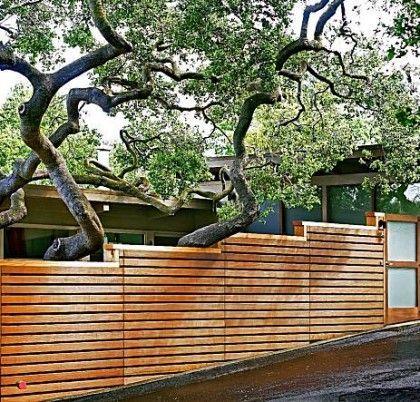 Fence On Slope Horizontal Slats Home Pinterest Landscape Front Yard Fence