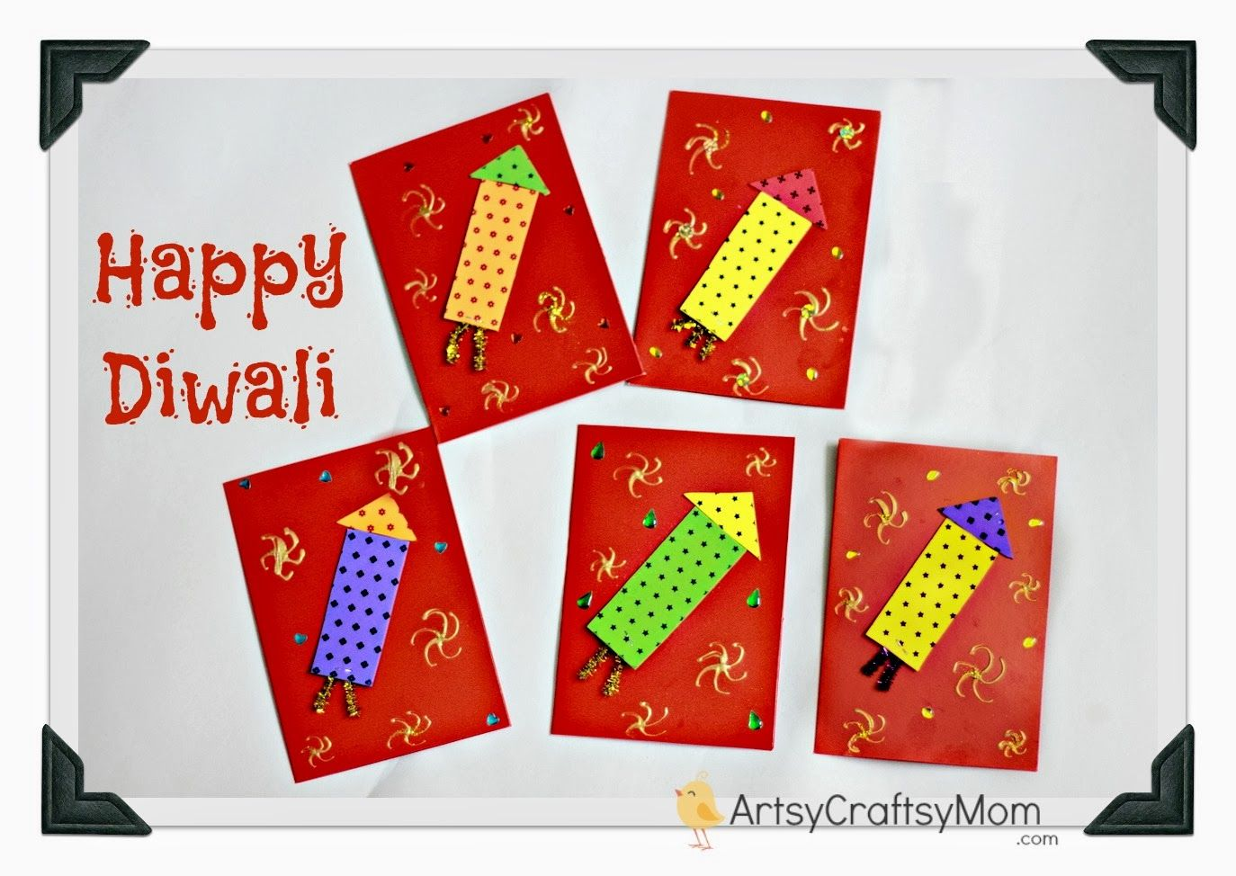 Art And Craft Ideas For Making Greeting Cards Part - 32: Firecracker Themed Diwali Greeting Card For Kids
