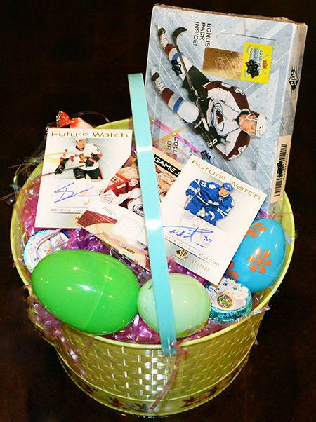 Awesome easter basket for hockey fans upper deck trading cards awesome easter basket for hockey fans upper deck trading cards completed this holiday negle Images