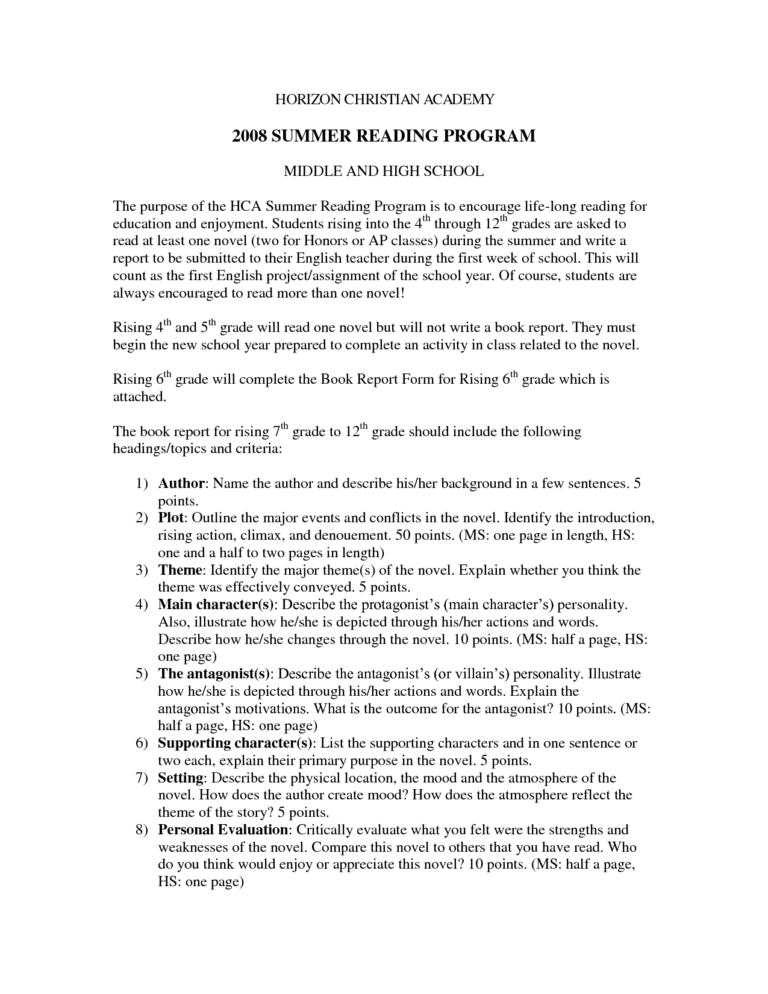 High School Novel Reading Worksheet Printable Throughout Book Report Template Middle Review Of Essay
