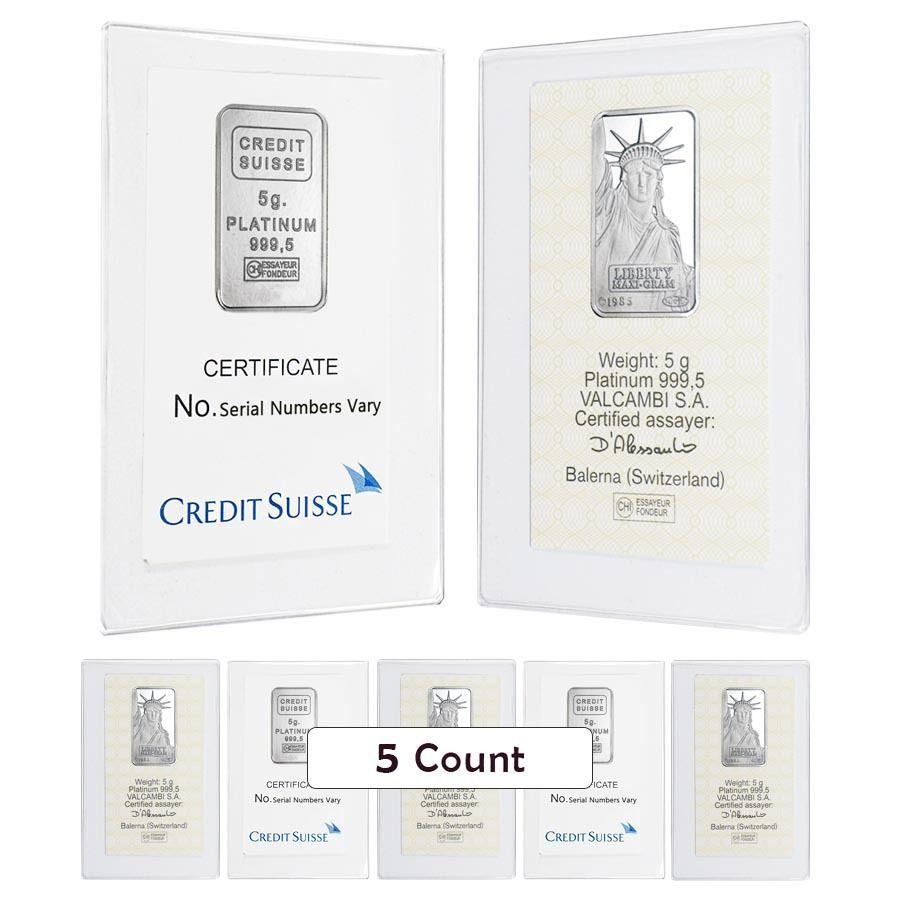 Lot Of 5 5 Gram Credit Suisse Statue Of Liberty Platinum Bar 9995 Fine In As Credit Suisse Platinum Credits