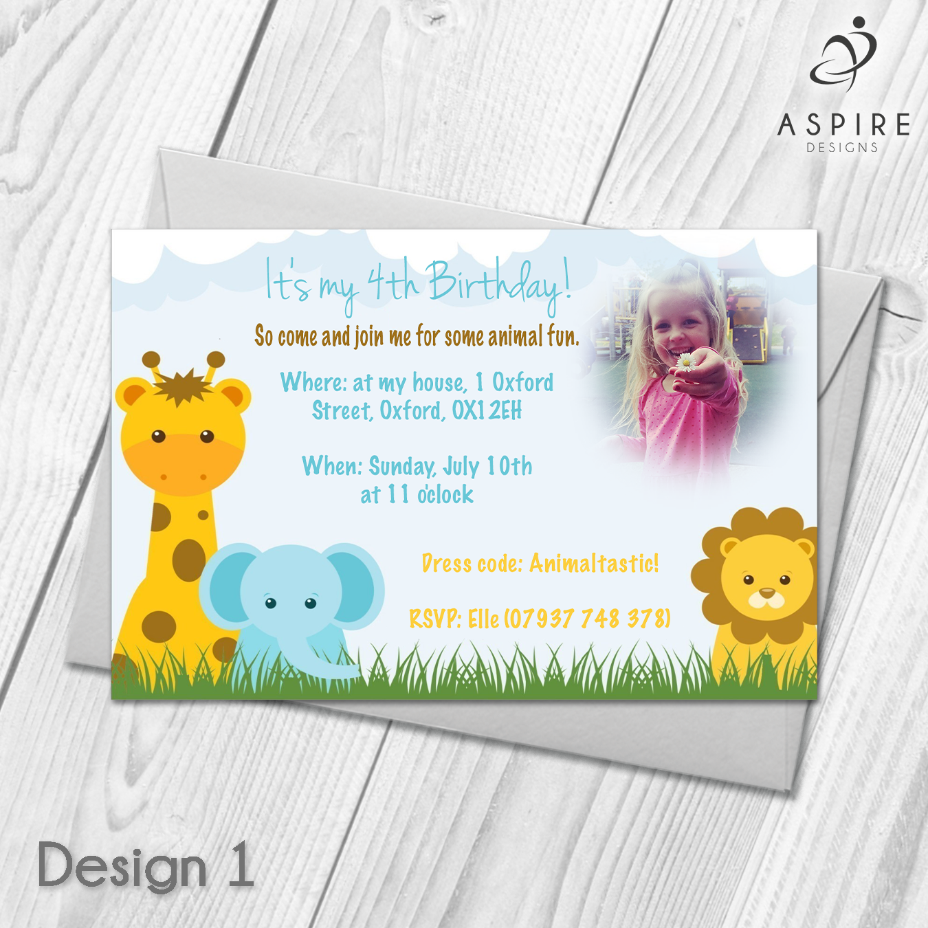 Personalised Animal Zoo Childrens Birthday Party Invitations