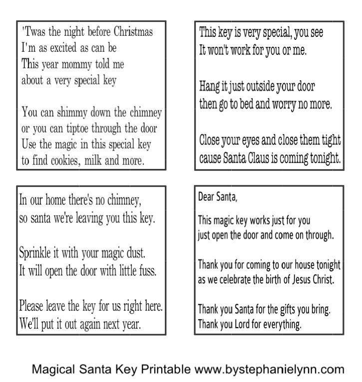 Santa's magic Key poem and printable | Digi Freebies | Pinterest ...