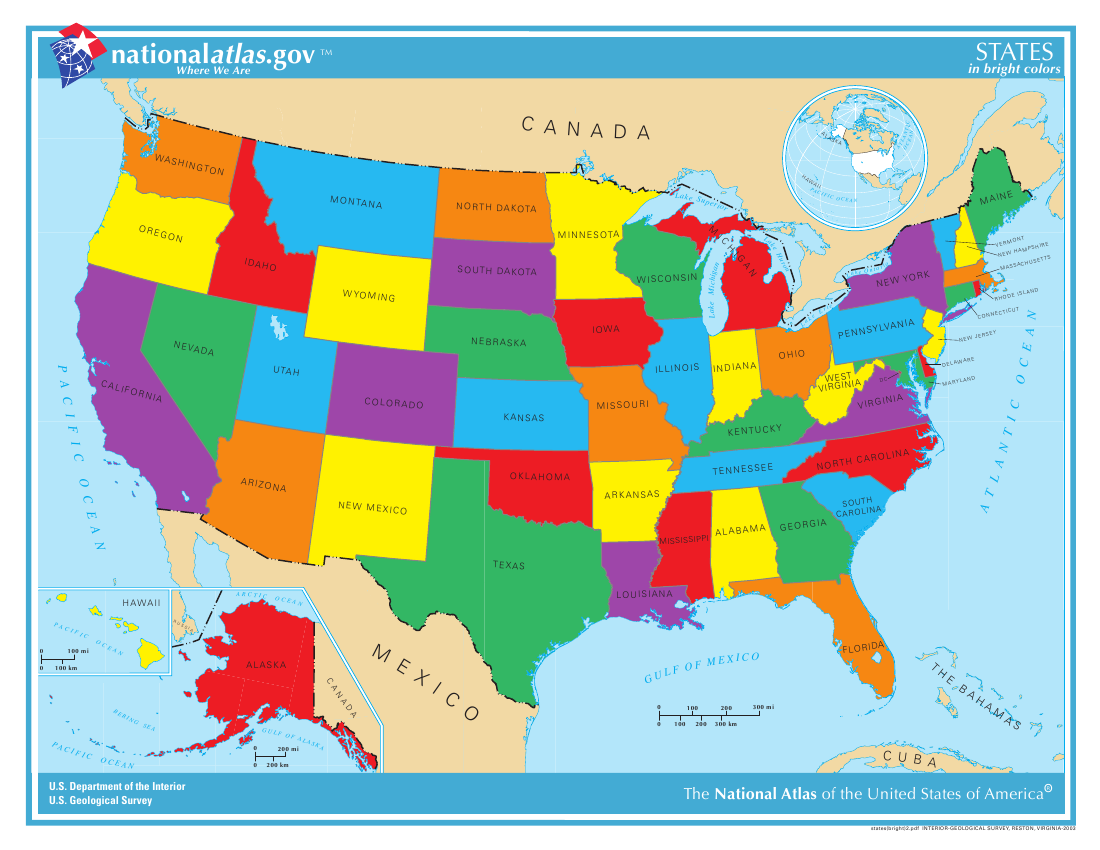 Colorful Us Maps With State Names United States Map In PDF - Us map of states i ve been to