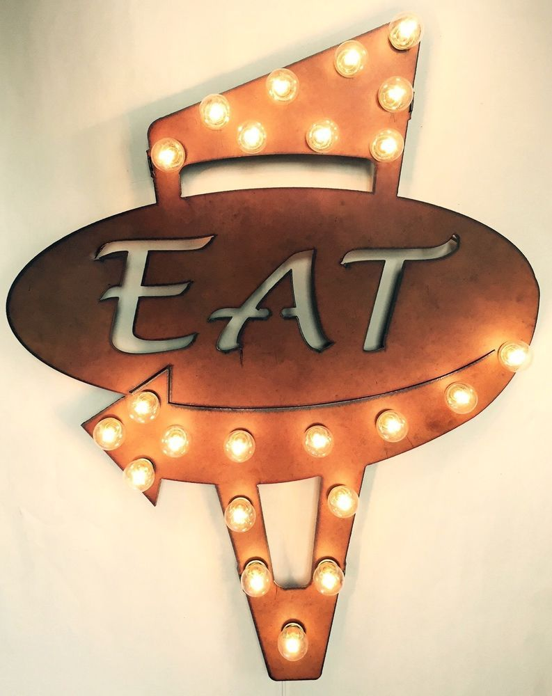 Eat retro lighted marquee sign rustic metal wall art marquee