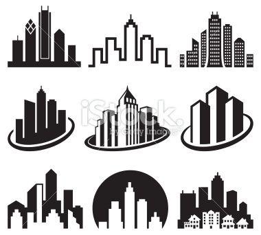 City Emblem Black Amp White Royalty Free Vector Icon Set Stock Vector Art 20262231 Icon Set Vector Icon Set Black And White Logos