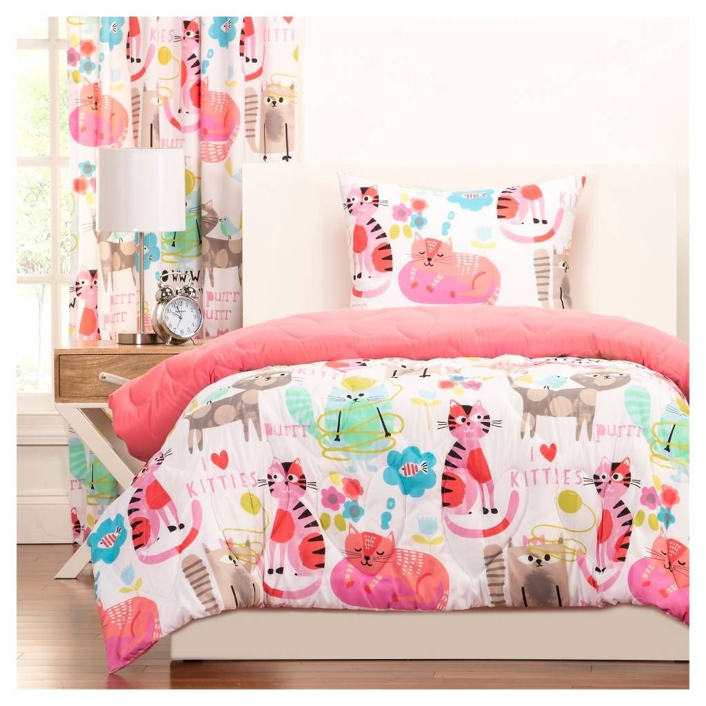 Crayola Purrty Cat Comforter and Shams Pink (Twin