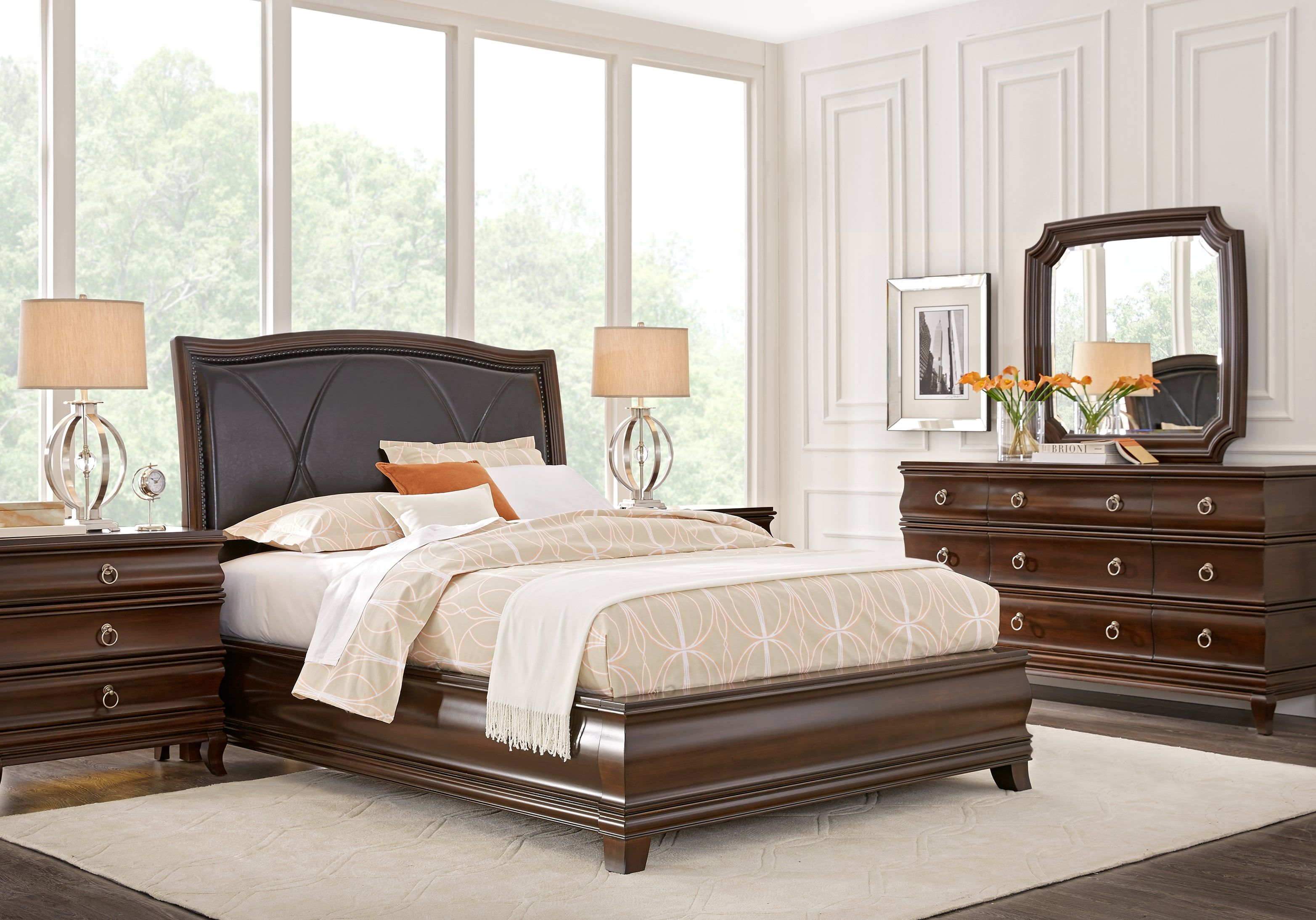 Alexi Cherry 5 Pc Queen Panel Bedroom With Chocolate Inset