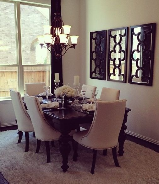 59020 Round mirror in dining room dining room transitional with ...