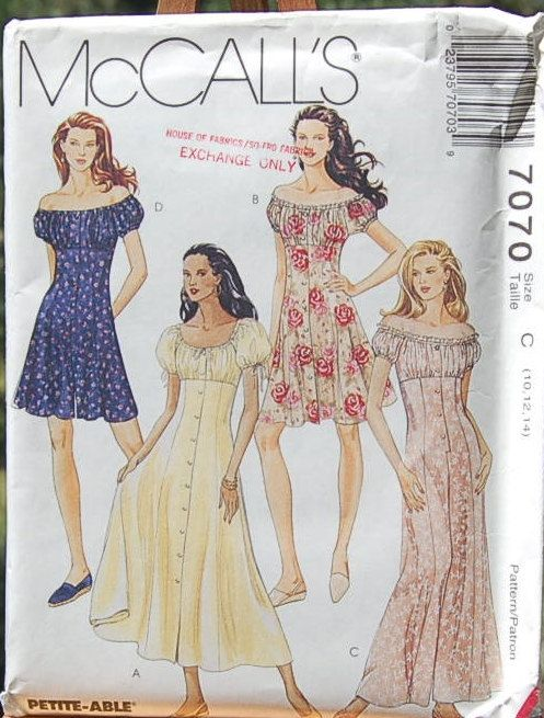 McCall\'s 7070 Peasant Dress Pattern UNCUT Petite-able sizes 10, 12, 14
