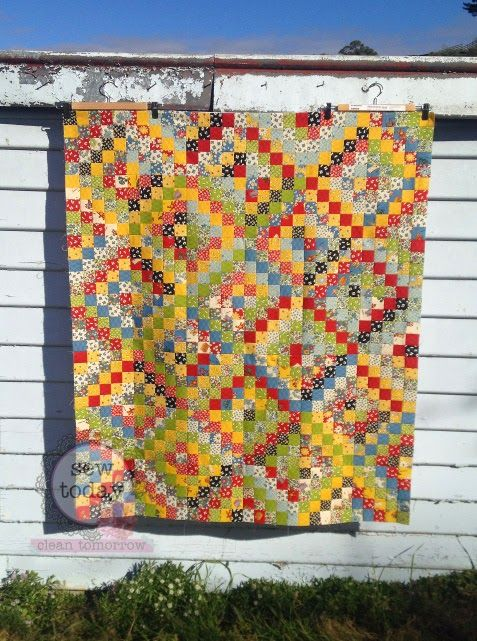 Sew Today, Clean Tomorrow: Finished Scrappy Trip Around the World Quilt Top