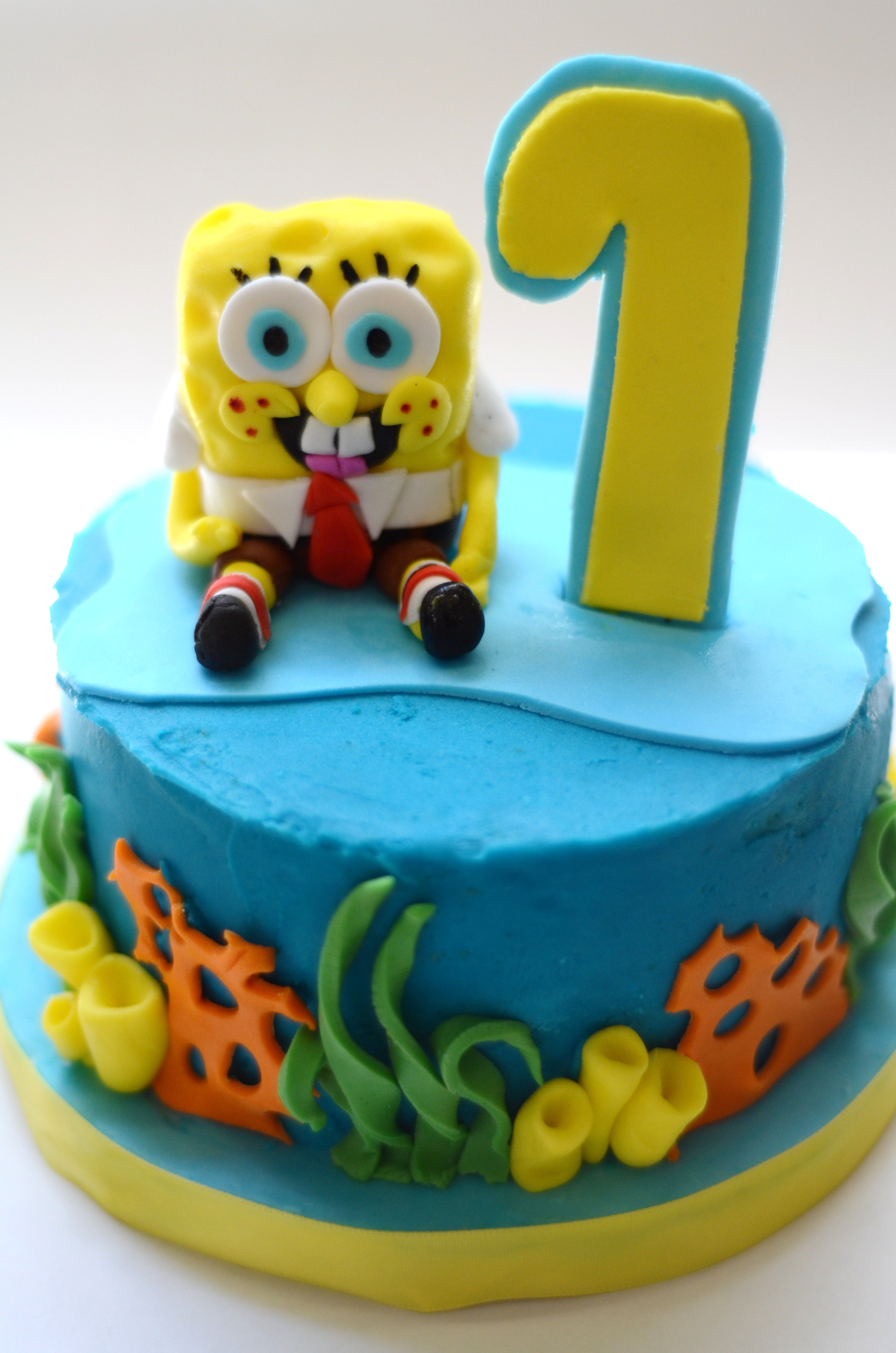Astonishing 1St Birthday Spongebob Mini Cake Only With A 3 Laying On The Funny Birthday Cards Online Alyptdamsfinfo