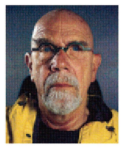 Chuck Close, Self-Portrait (Yellow Raincoat) (2013) - #Pixelation