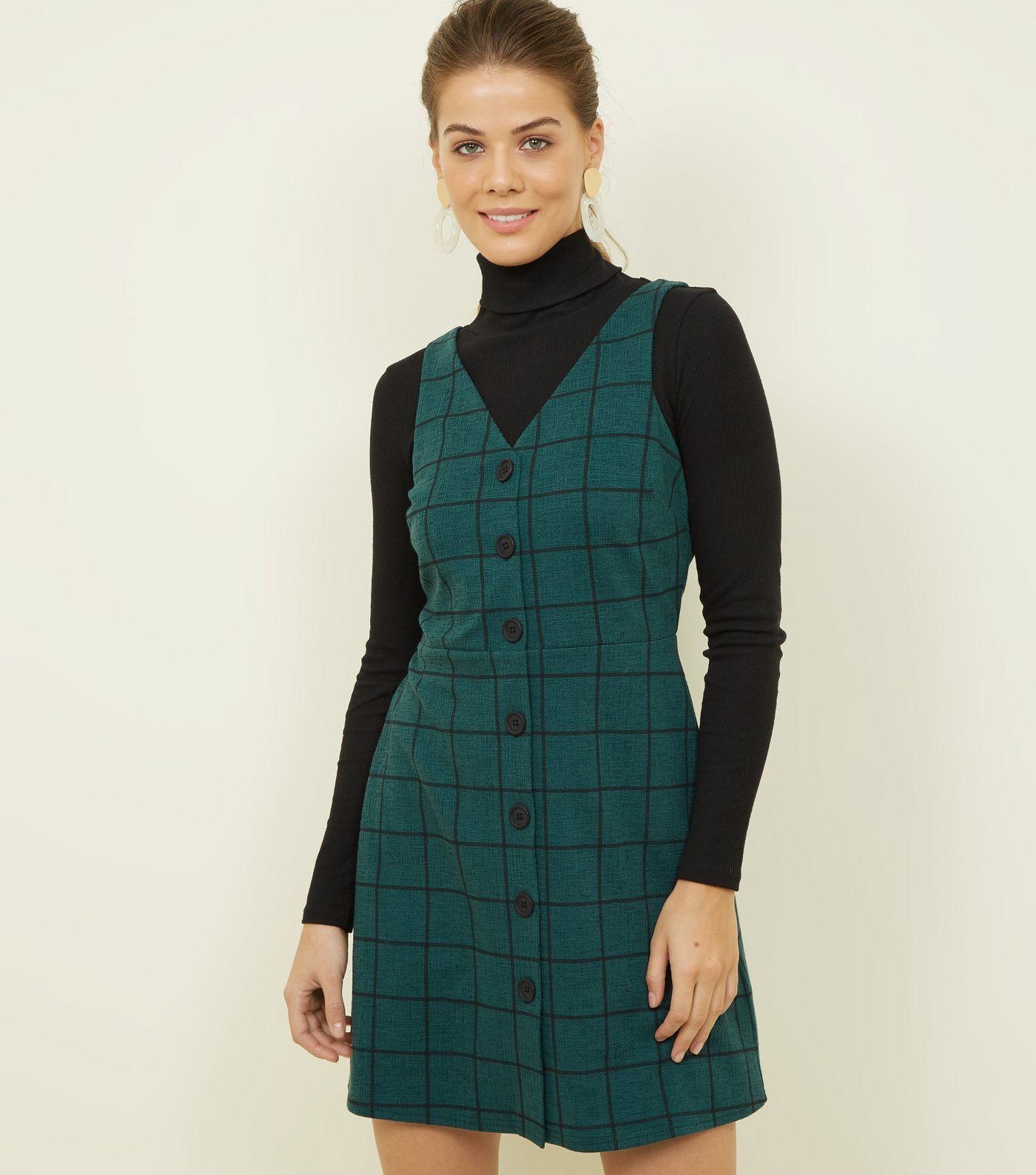 e4a6a692d0 Dark Green Grid Check Button Through Pinafore Dress