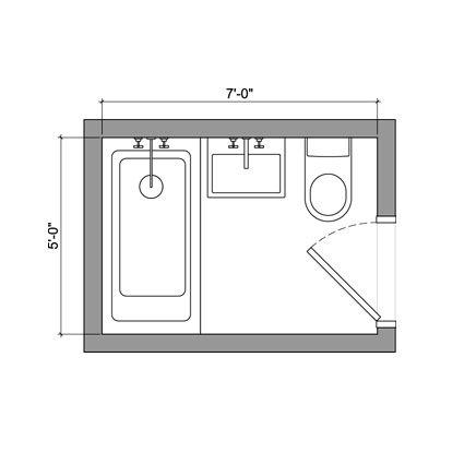 Small Bathroom 5 X 7 5' x 7' bathroom layout | house | pinterest | bathroom layout