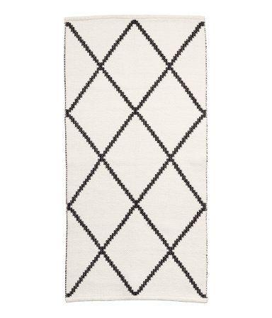 Baumwollteppich weiß  Teppich mit Jacquardmuster | Weiß/Schwarz gemustert | Home | H&M ...