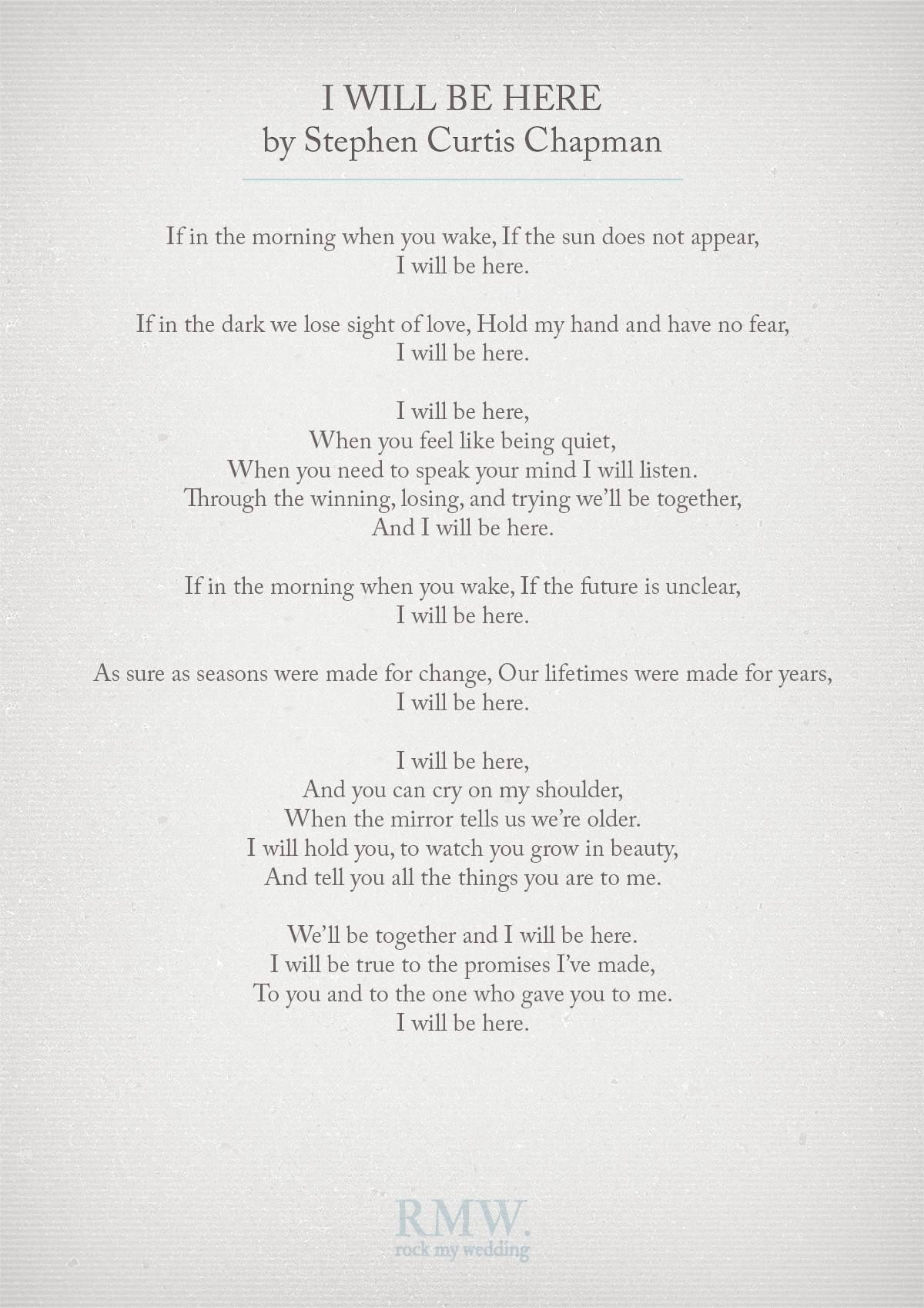 I Will Be Here By Stephen Curtis Chapman Wedding Vows Reading For Ceremony