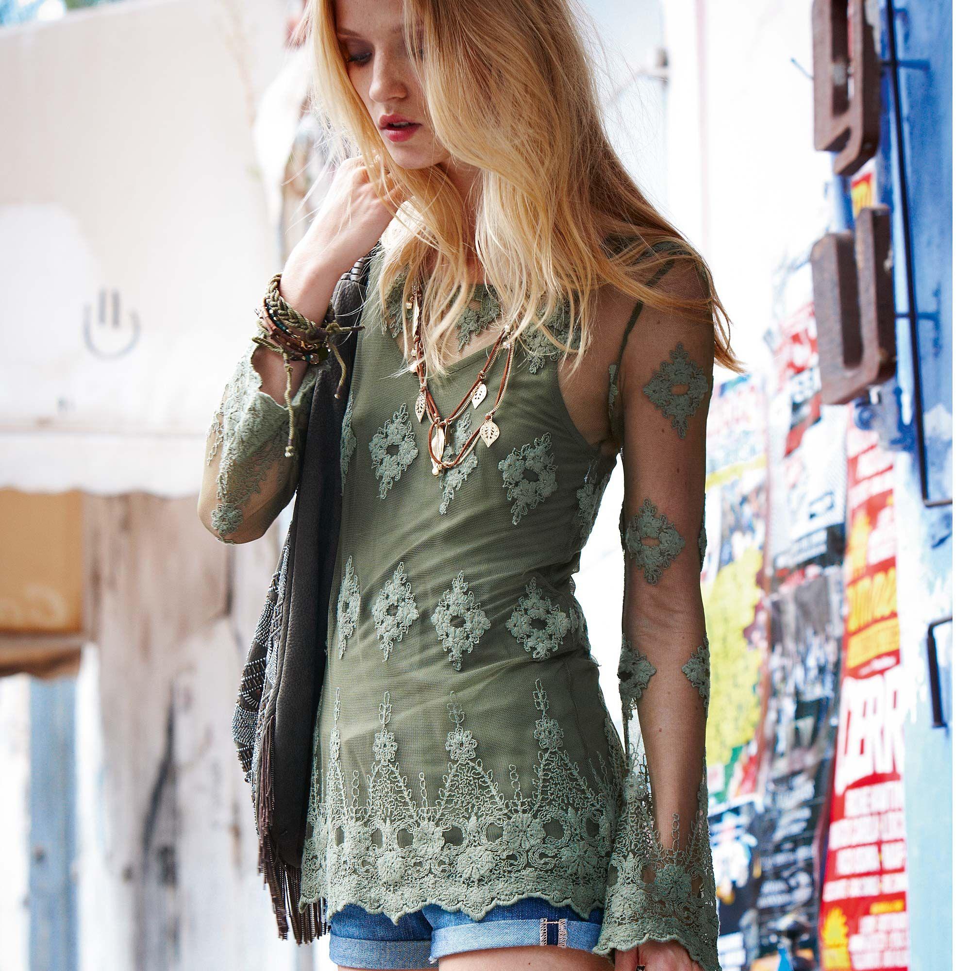 green lace shirt