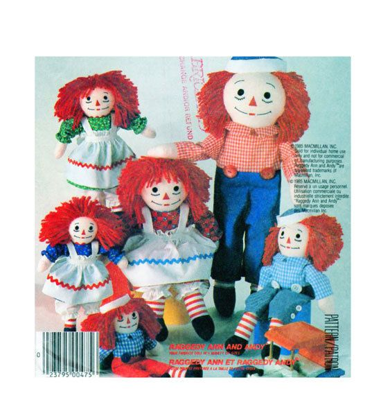 "Raggedy Ann and Andy McCalls 2447 Doll Collection Four Sizes: 10, 15, 20 & 25"" dolls. Raggedy Ann and Andy Dolls Clothes,Transfers UNCUT by FindCraftyPatterns on Etsy"