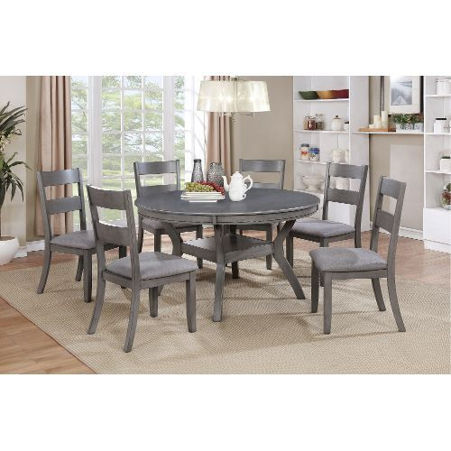 Gray 7 Piece Dining Set With Round Table   Warwick Collection