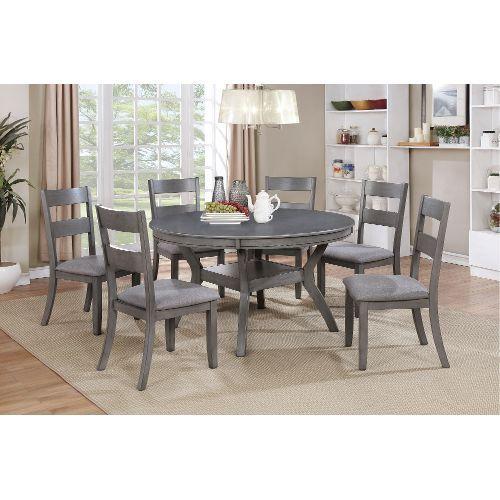 Gray Transitional 7 Piece Round Dining Set Warwick Round