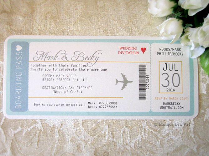 Sample Invite Plane Ticket Destination Wedding by MonicaLewArt - plane ticket template