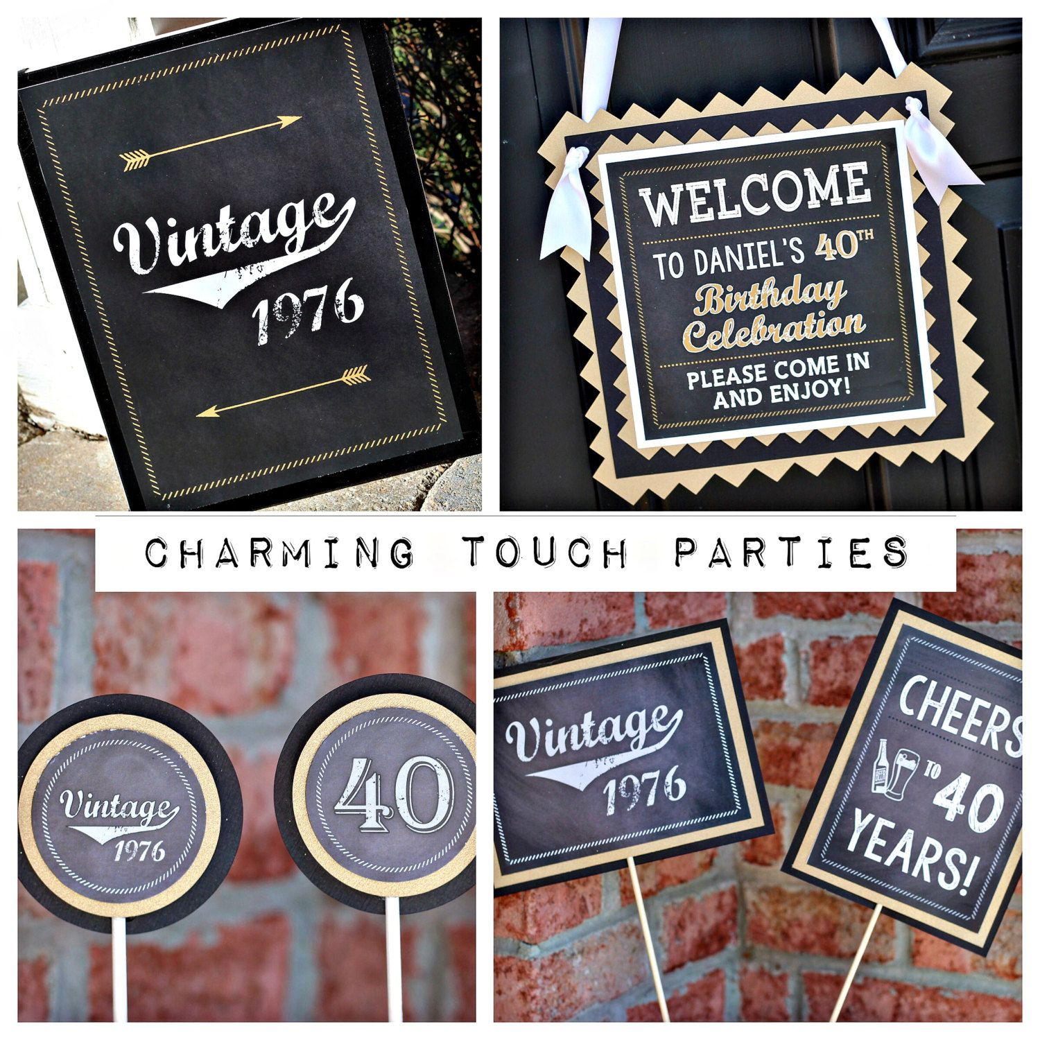 40th Birthday Party Decorations 4 Piece Box Masculine And Vintage Chalkboard