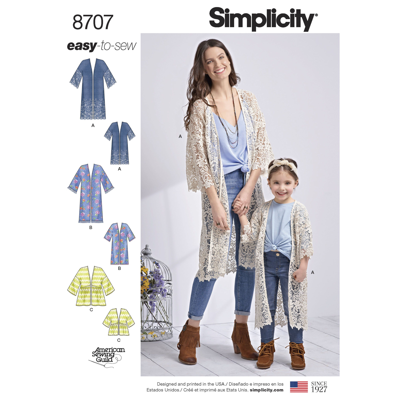 Size XXS-XXL Simplicity 1108 Womens Kimono and Cardigan Sewing Pattern
