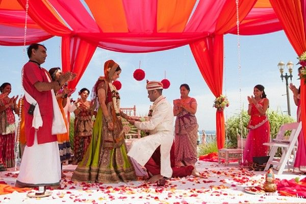 An Indian Bride And Groom Have Vibrant Beach Wedding Ceremony