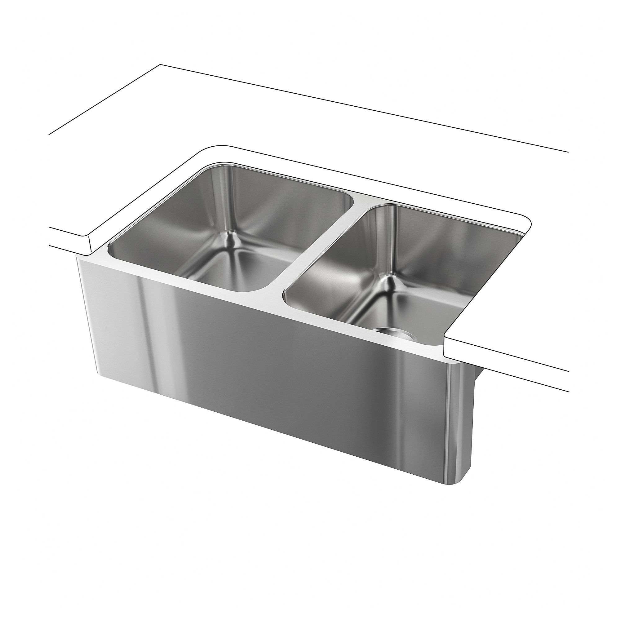 bredsj n apron front double bowl sink under glued stainless steel rh pinterest ca