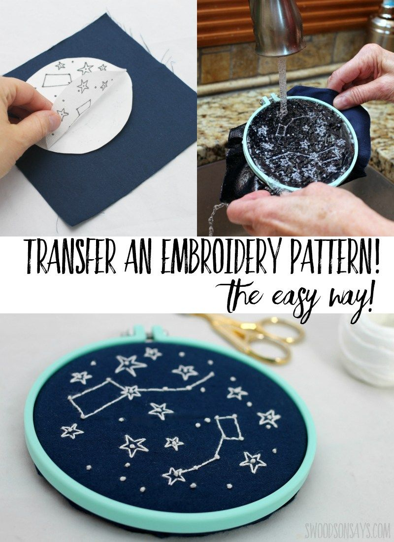 Modern constellation embroidery project in hand embroidery
