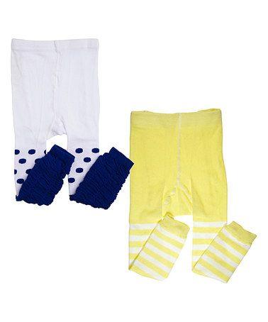 Yellow Stripe & Blue Dot Tights Set - Toddler & Girls #zulily #zulilyfinds