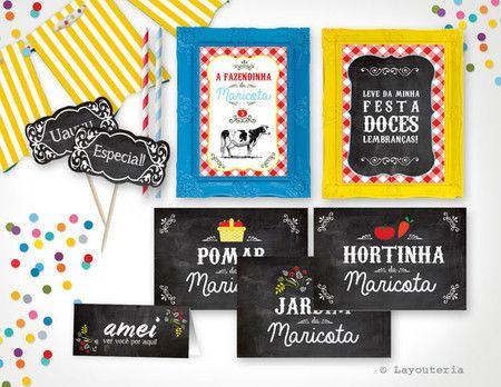Plaquinhas Festa Fazendinha - Festa para Imprimir