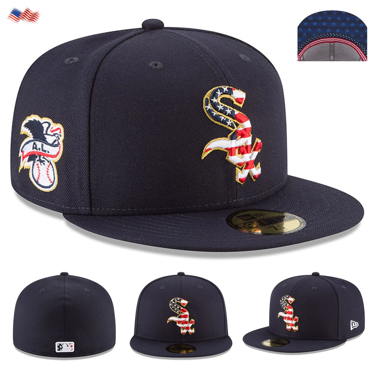 98f7cdebfb7e37 Celebrate the 4th of July 2018 holiday in style when you grab this Stars &  Stripes Chicago White Sox On-Field 59FIFTY Fitted Hat from New Era.