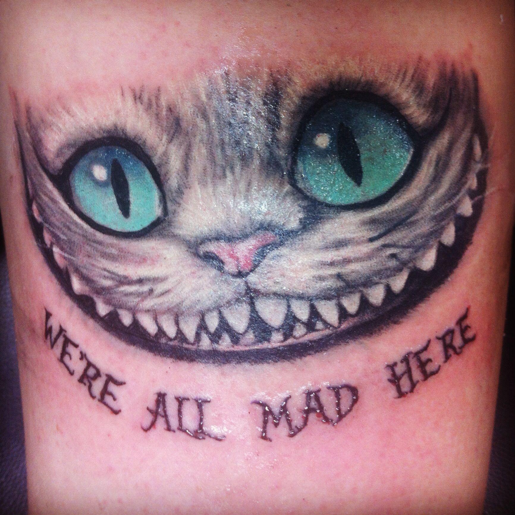 My New Tattoo Cheshire Cat From Tim Burton S Alice In Wonderland We Re All Mad Here Cheshire Cat Tattoo Tattoos Wonderland Tattoo