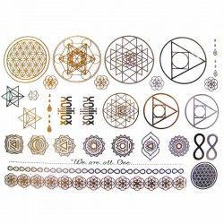 tatouages ephemeres dores et argentes mandala et fleur de. Black Bedroom Furniture Sets. Home Design Ideas