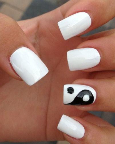 9 Best Black And White Nail Art Yin Yang