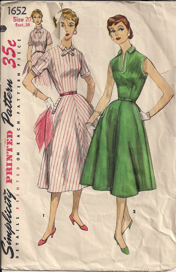 Vintage 50s Sewing Pattern Casual Lacoste or Tie by HoneymoonBus, $9.99