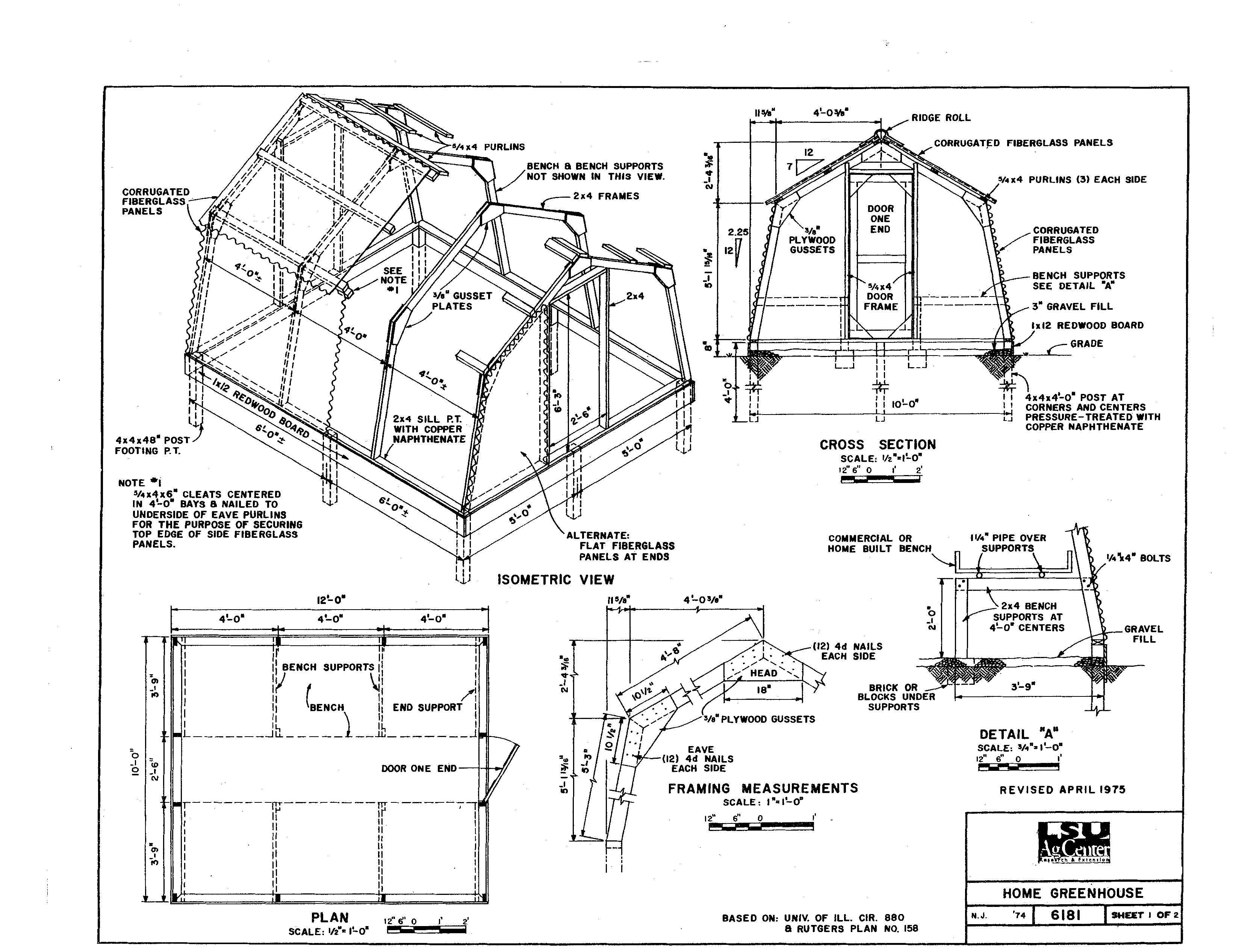 I found this blueprint for a home greenhouse on LSU\'s Ag Dept ...