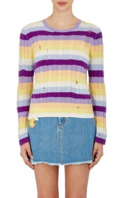 MARC JACOBS Striped Cable-Knit Cashmere Sweater. #marcjacobs #cloth #sweater