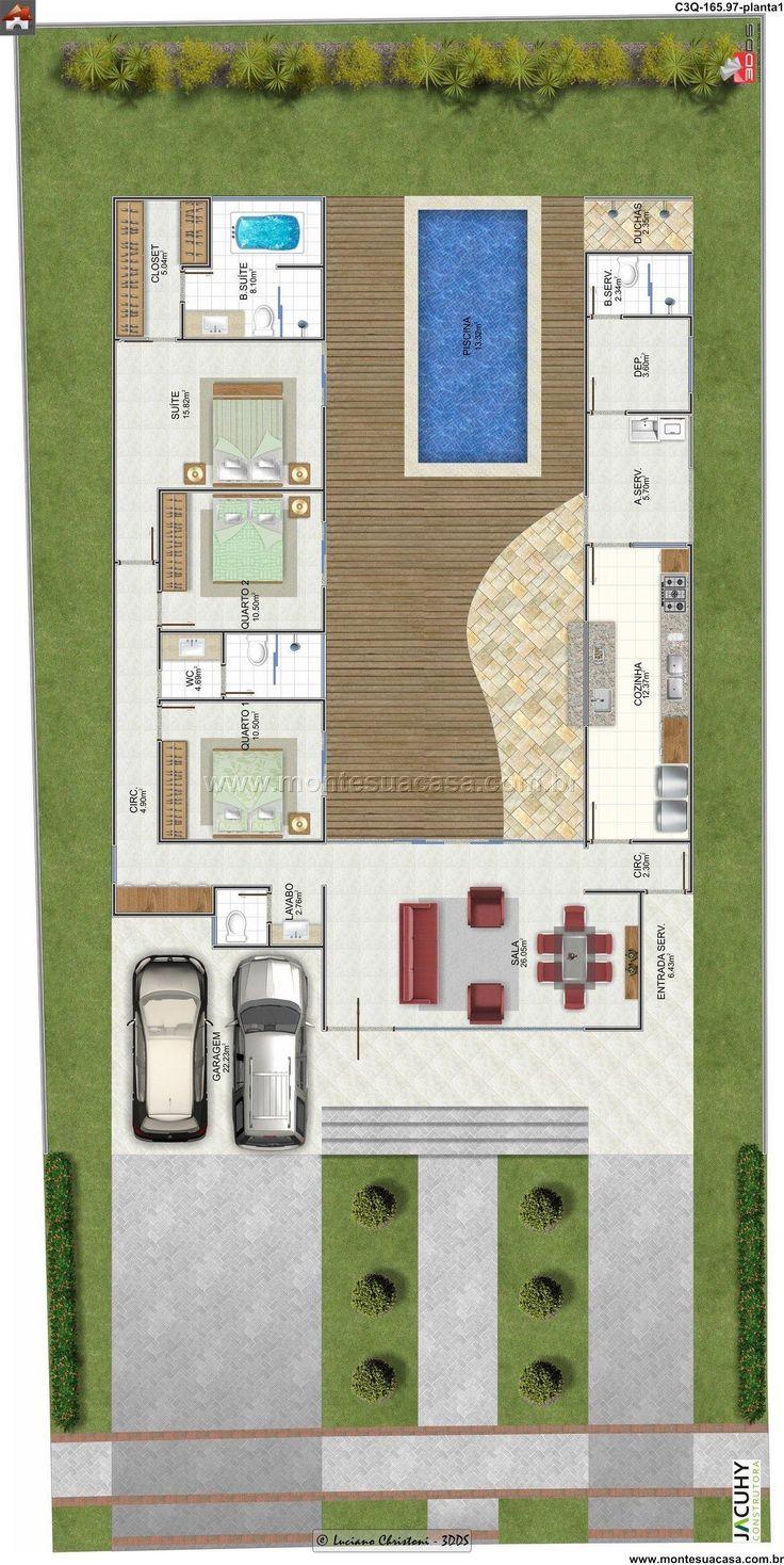 Planta de casa 3 quartos monte sua casa for Casas 1 planta