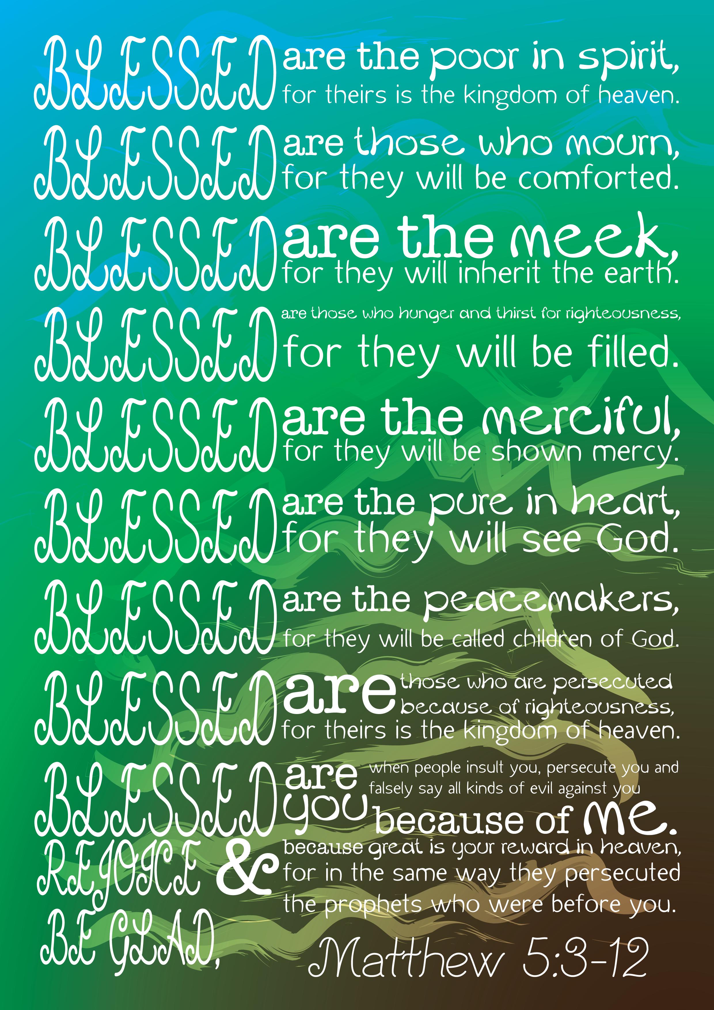 Matthew 5 3 12 The Beatitudes Jesus Sermon On The Mount