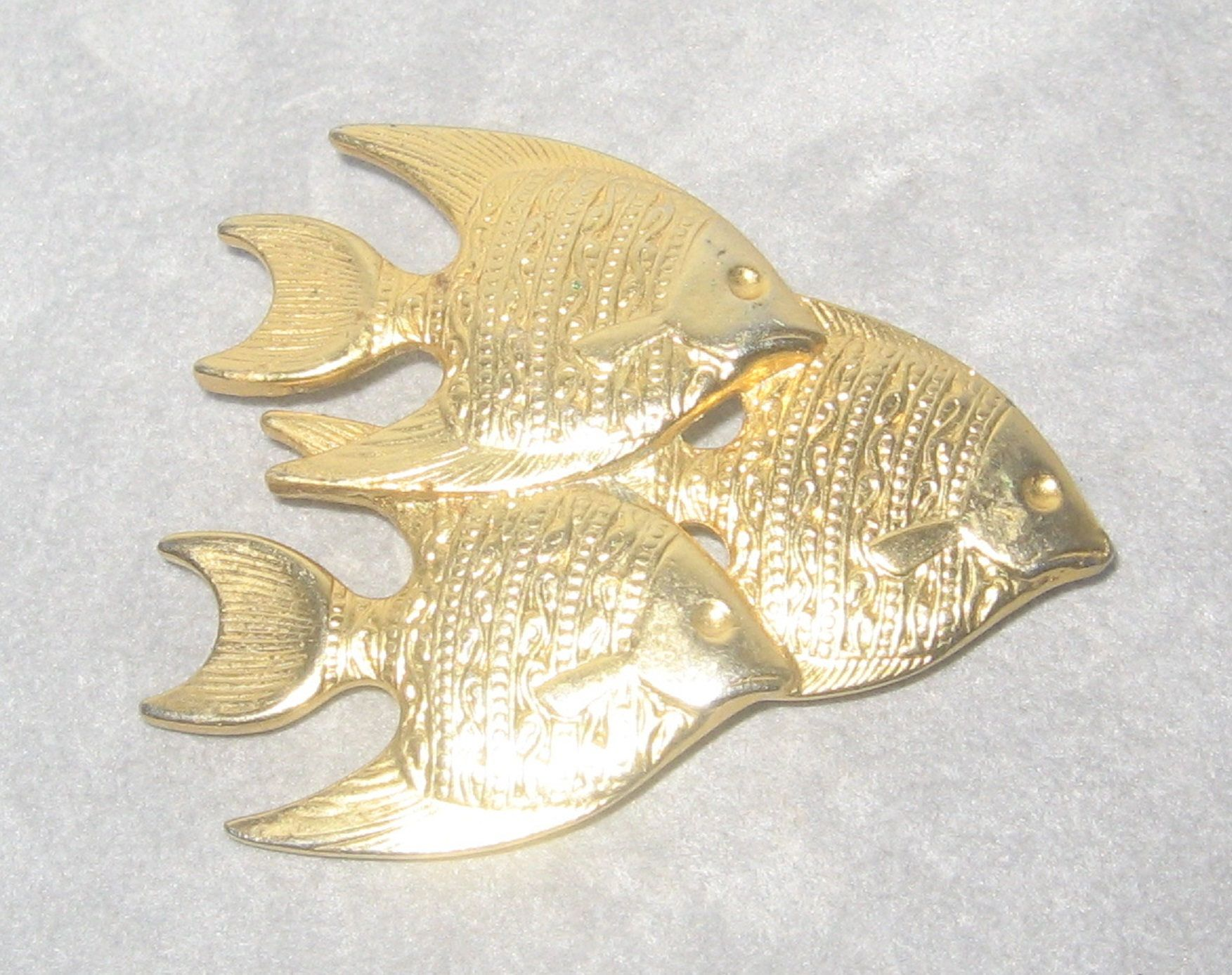 Angel fish lapel pin brooch  Gold toned, pin back closure