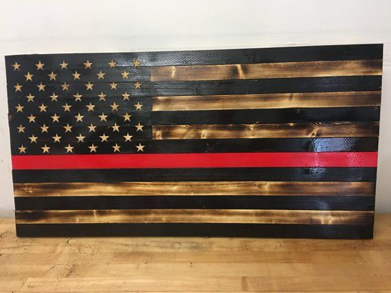 Rustic Wooden American Flag With Fire Fighter Thin Red Line Wooden American Flag Rustic Wooden American Flag Thin Red Line Flag