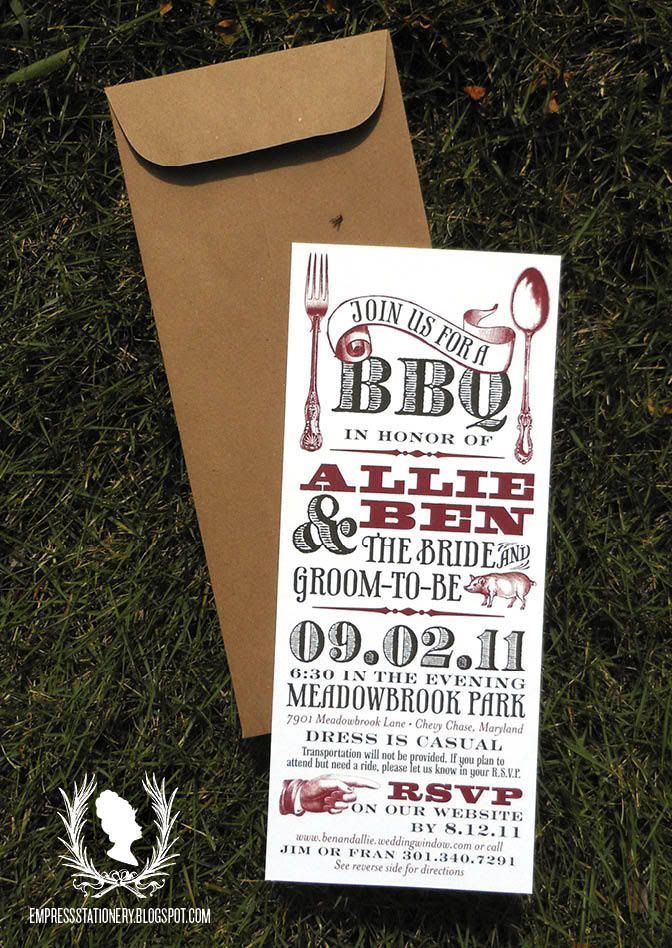 BBQ Rehearsal Dinner Invites Like The Font