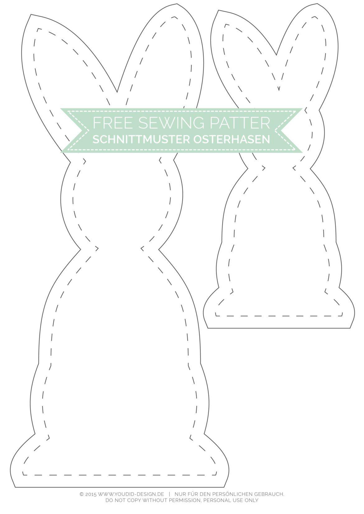 Black and White Osterhasen mit kostenlosem Schnittmuster | Pinterest ...